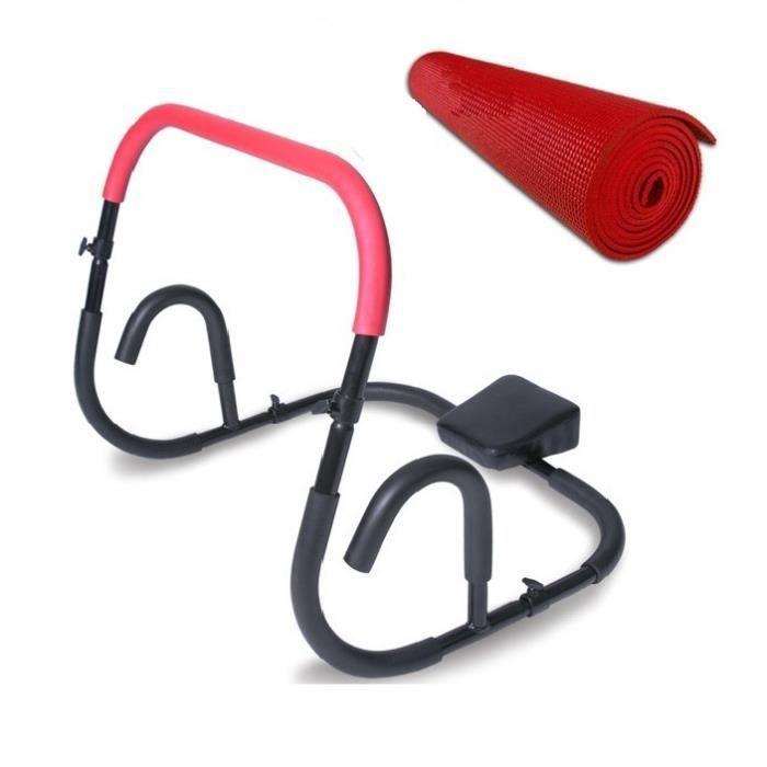 Appareil pour abdominaux noir et rouge avec tapis de for Tapis yoga avec canapé avec pouf intégré