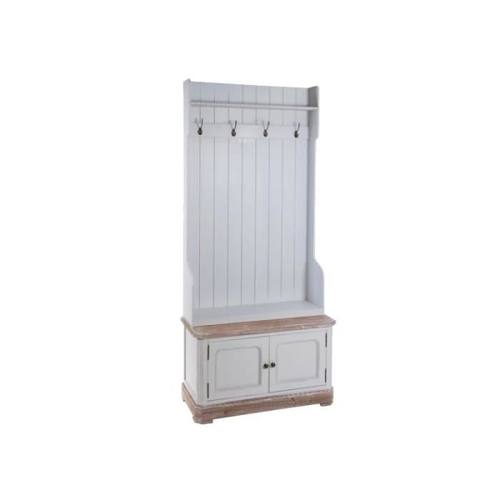meuble d entr e porte manteau bois blanc style mer achat. Black Bedroom Furniture Sets. Home Design Ideas
