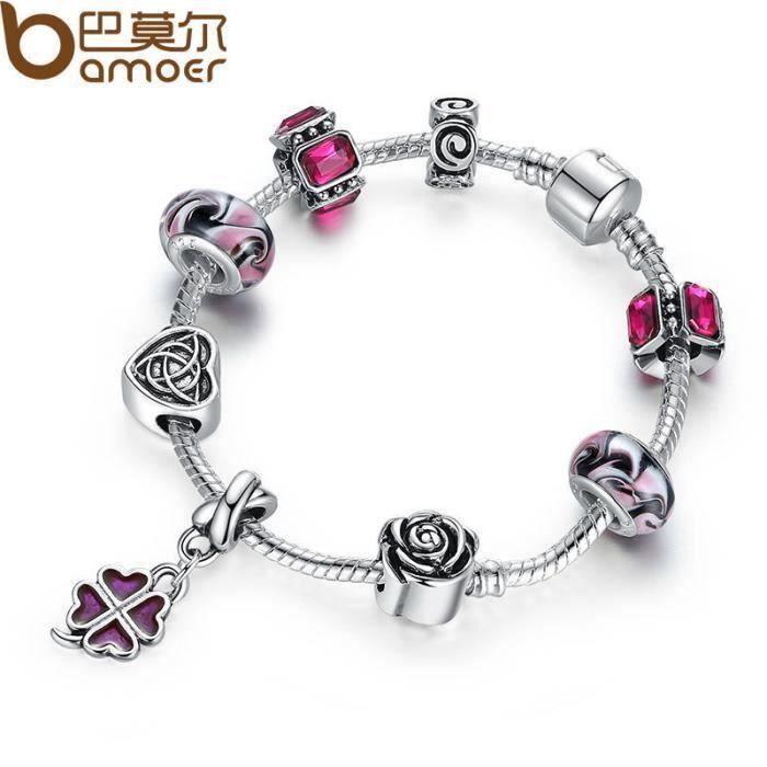 925 four leaf clover charm bracelet avec perles violettes. Black Bedroom Furniture Sets. Home Design Ideas