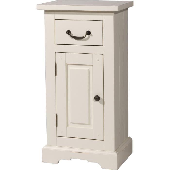 L ment bas avec 1 tiroir et 1 porte en pin massif solide for Element bas salle de bain