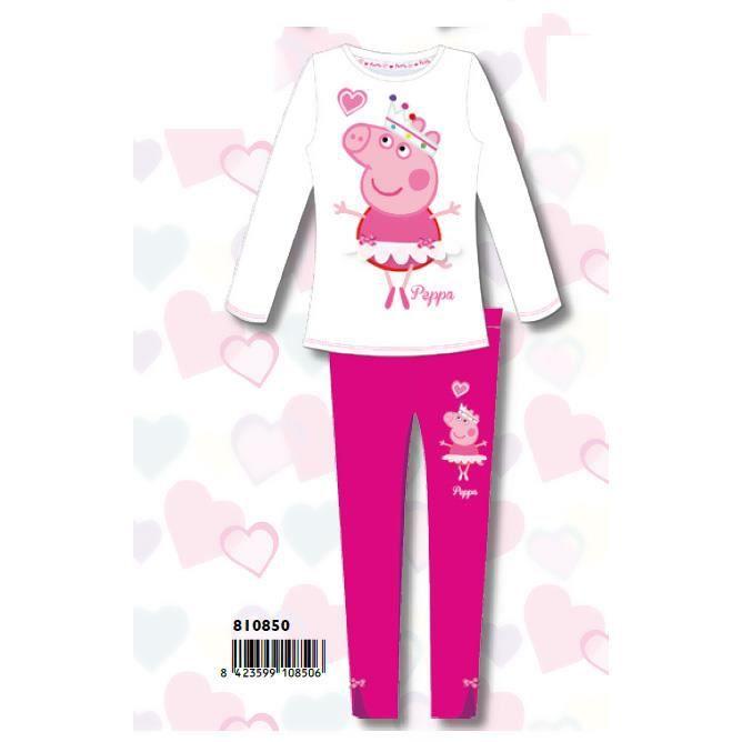 peppa pig pyjama hiver fille 4 ans blanc rose blanc. Black Bedroom Furniture Sets. Home Design Ideas