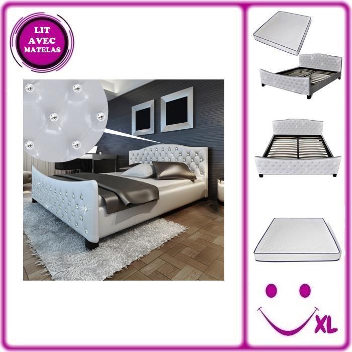 lit en simili cuir blanc matelas m moire de forme 180x200cm achat vente lit complet lit en. Black Bedroom Furniture Sets. Home Design Ideas
