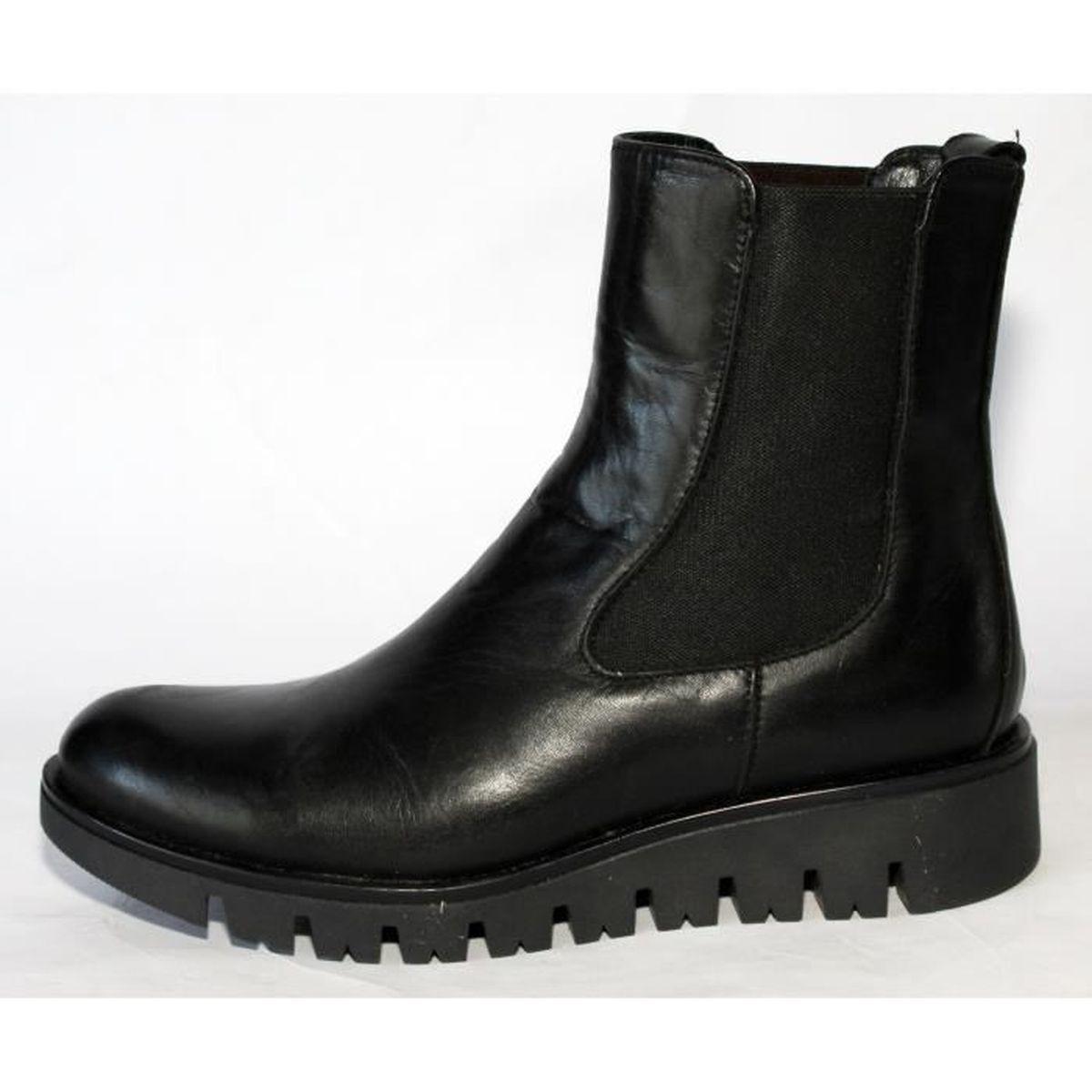 boots chelsea cuir noir femme - achat / vente pas cher - cdiscount