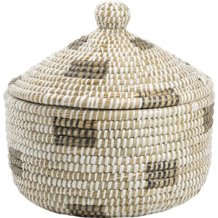 Panier de rangement rond en algue et palmier 35 achat vente boite de rangement cdiscount - Panier en osier avec couvercle ...