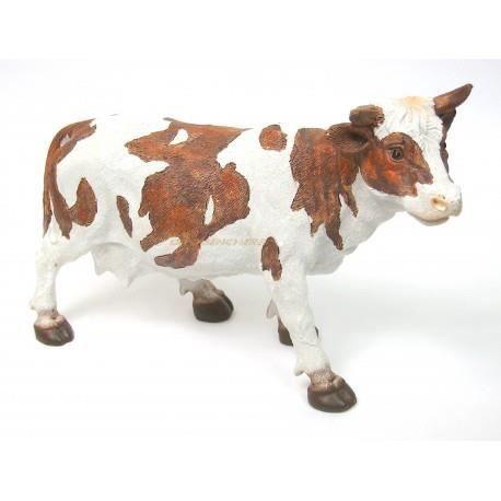 vache marron et blanc en r sine hauteur 17cm achat. Black Bedroom Furniture Sets. Home Design Ideas