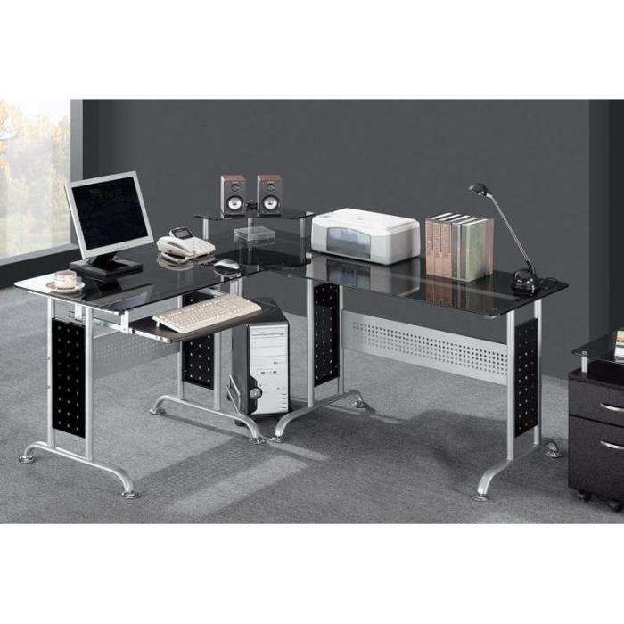 Bureau informatique noir en verre achat vente bureau bureau informatique - Bureau informatique noir ...