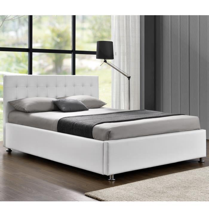 lit lift 140 x 190 en simili blanc avec coffre de rangement et sommier structure en panneaux. Black Bedroom Furniture Sets. Home Design Ideas