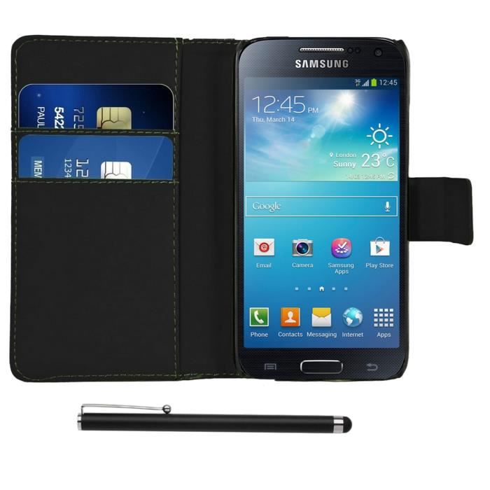 Housse cuir samsung galaxy s4 mini stylet achat housse for Housse samsung galaxy s4 mini