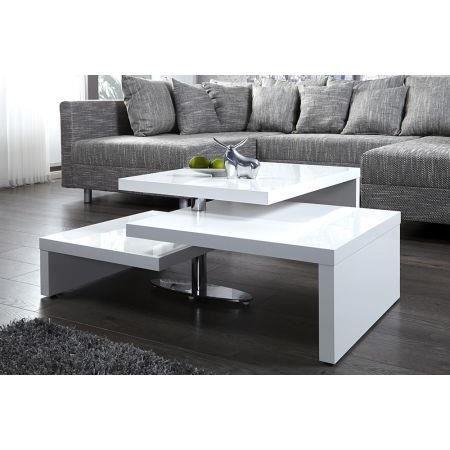 Table basse design 3 plateaux pivotants blanc l achat vente table basse - Table basse 3 plateaux ...