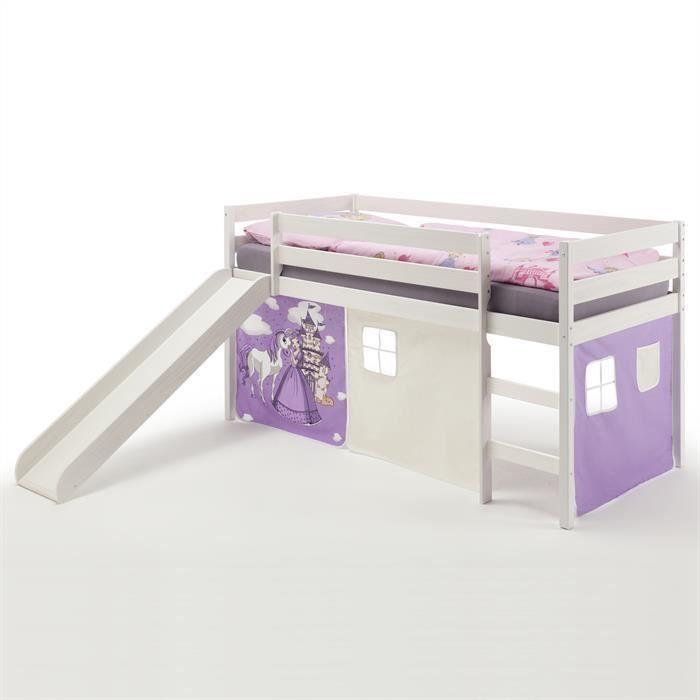 lit sur lev blanc toboggan tissus princesse achat vente lit mezzanine lit sur lev blanc. Black Bedroom Furniture Sets. Home Design Ideas