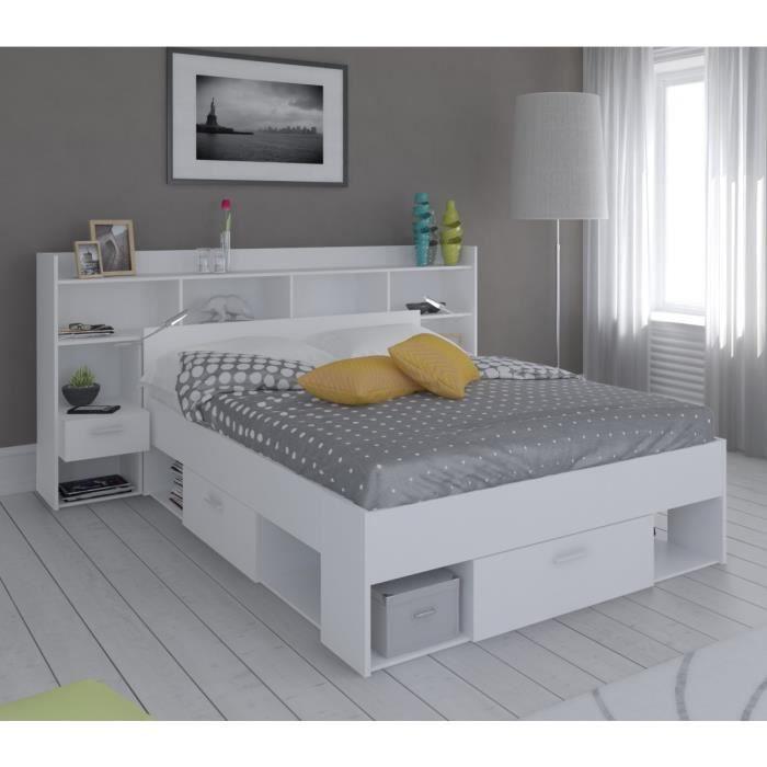 lit environnement 140x190 200 blanc perle achat vente. Black Bedroom Furniture Sets. Home Design Ideas