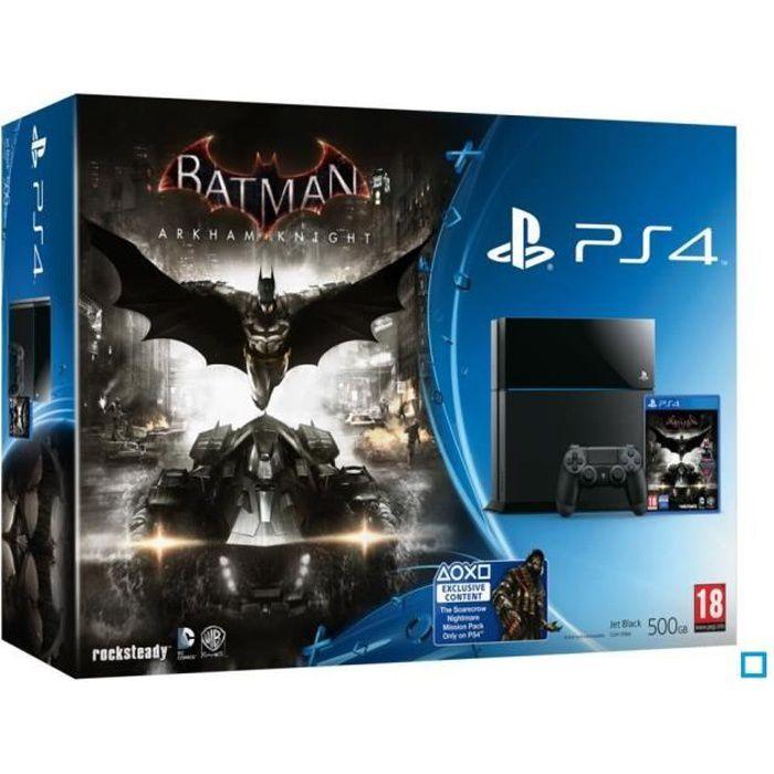 consola playstation 4 500 go noire jeu batman arkham knight achat vente console ps4. Black Bedroom Furniture Sets. Home Design Ideas