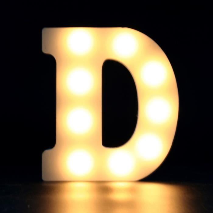 lettre lumineuse decorative lettre d blanc unique achat. Black Bedroom Furniture Sets. Home Design Ideas