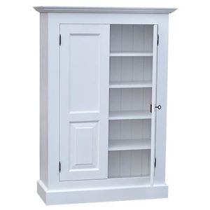 Petite armoire pin massif 2 portes 4 tag res a achat for Peindre une armoire en pin