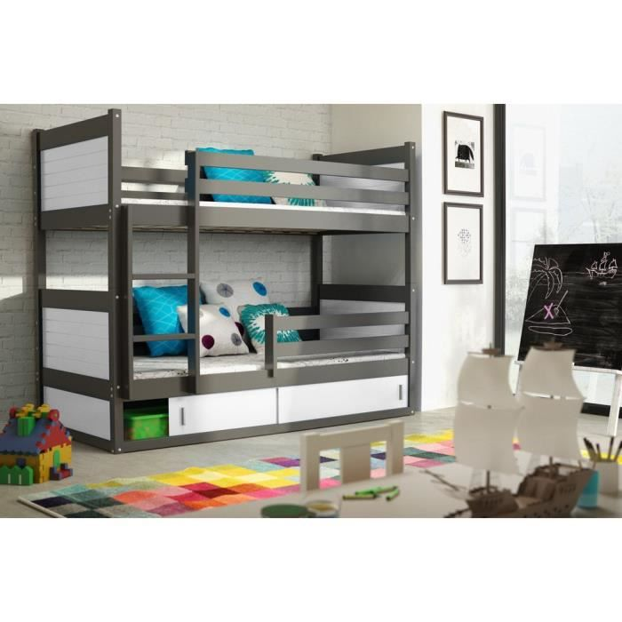 Lit superpos rico en pin 185x80 gris achat vente ensemble literie cd - Cdiscount lit superpose ...