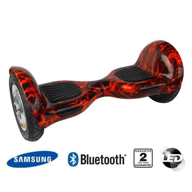 hoverboard gyropode balance board 10 pouces flammes enceintes bluetooth et telecommande. Black Bedroom Furniture Sets. Home Design Ideas