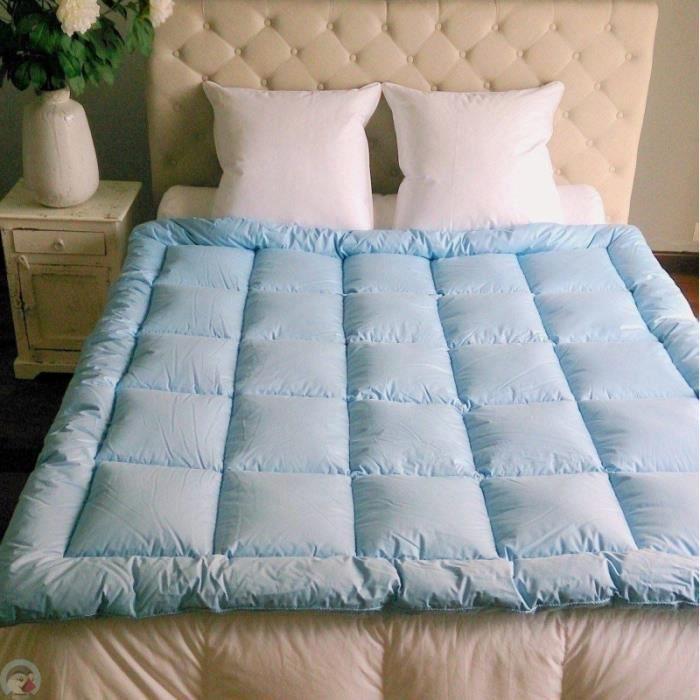 edredon piqu carr s 4 couleurs dimension 140x160 cm coloris bleu achat vente. Black Bedroom Furniture Sets. Home Design Ideas
