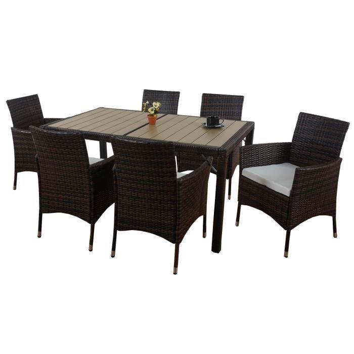 Salon de jardin ariana polyrotin lounge 6xfauteuil table wpc bois composite marron achat Salon de jardin bois cdiscount