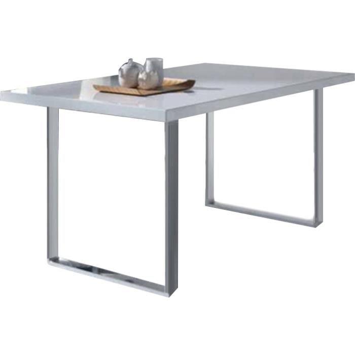 Table manger 90x150cm bois et m tal coloris blanc for Table a manger bois metal