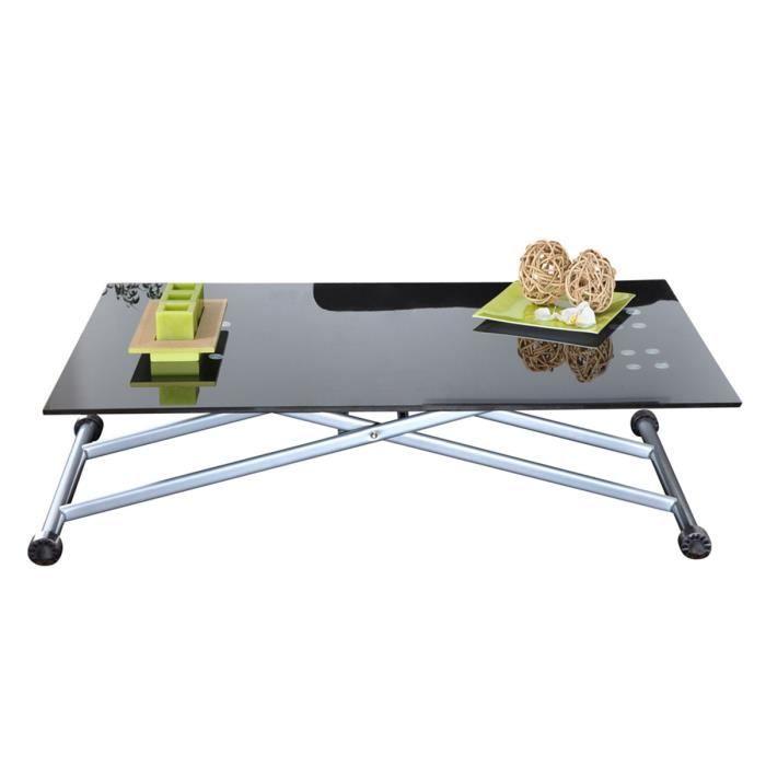 Table basse relevable argent noir capucine achat vente for Table basse relevable noir
