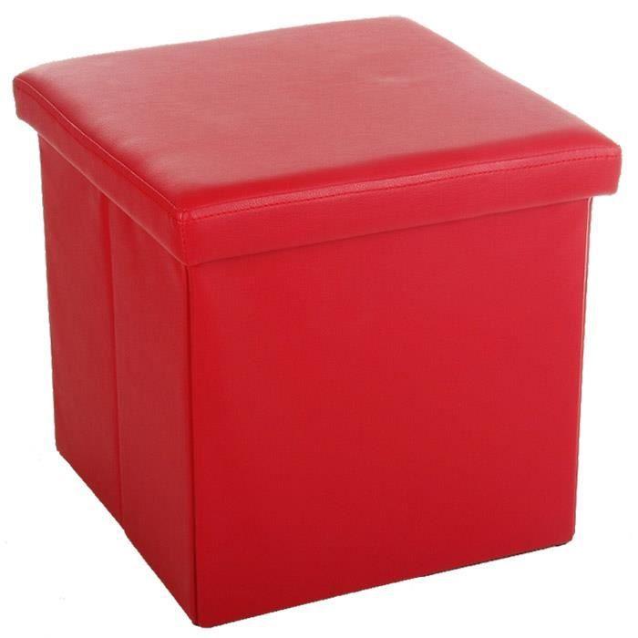 tabouret pouf coffre de rangement pliable rouge achat vente pouf poire bois pvc cdiscount. Black Bedroom Furniture Sets. Home Design Ideas