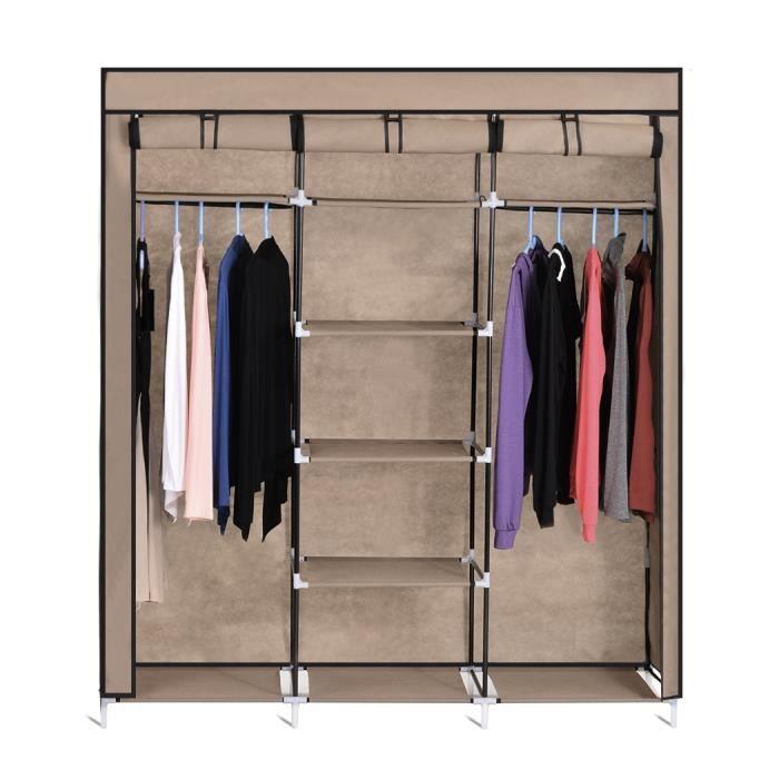 Homdox meuble armoire pliant portable tissu chiffon en for Meuble armoire