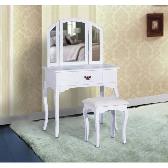 coiffeuse table de maquillage avec tabouret blanc achat vente coiffeuse coiffeuse table de. Black Bedroom Furniture Sets. Home Design Ideas