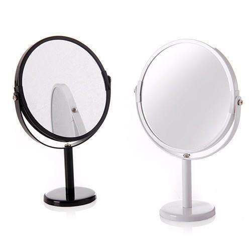 Miroir double face deux augmente le pied rond blanc noir for Miroir double face