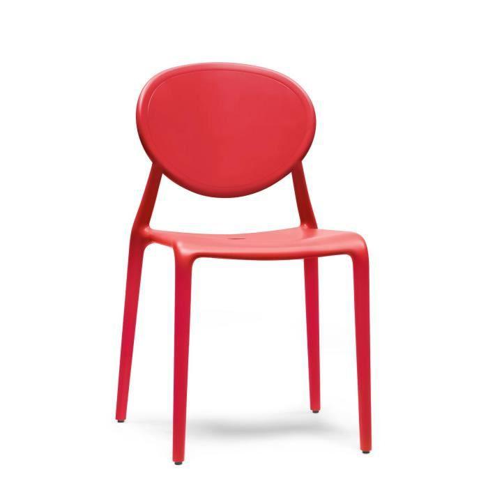 6 chaises design rouge gio lot de 6 interie achat - Lot de 6 chaises design ...