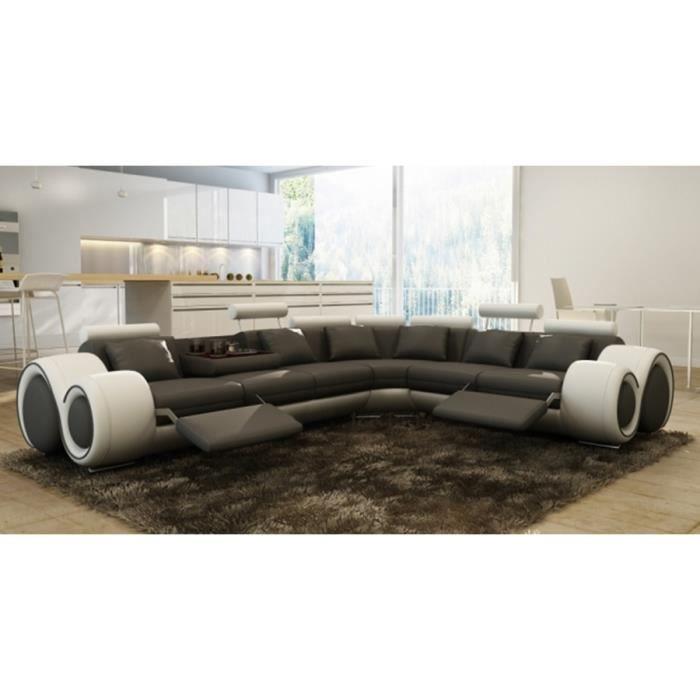 Canap d 39 angle cuir gris et blanc positions relax oslo droit achat - Canape cuir blanc et gris ...