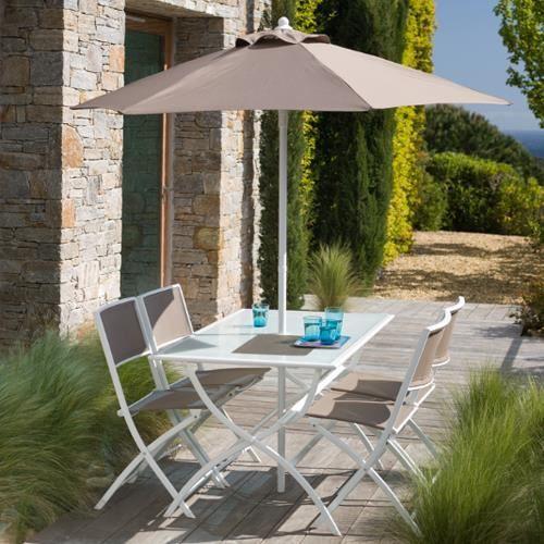 salon de jardin taupe avec parasol offert achat vente salon de jardin salon de jardin taupe. Black Bedroom Furniture Sets. Home Design Ideas