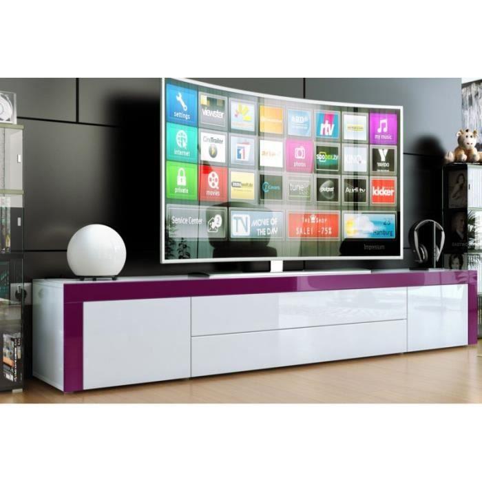 Meuble bas laqu blanc blanc violet achat vente meuble - Meuble tv violet laque ...