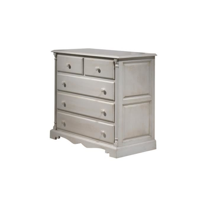 Commode ch taignier laque beige 5 tiroirs achat vente for Meuble laque beige