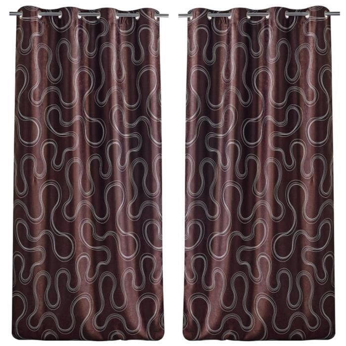 paire de double rideaux occultant motif sinueux 140x260cm chocolat achat vente rideau. Black Bedroom Furniture Sets. Home Design Ideas