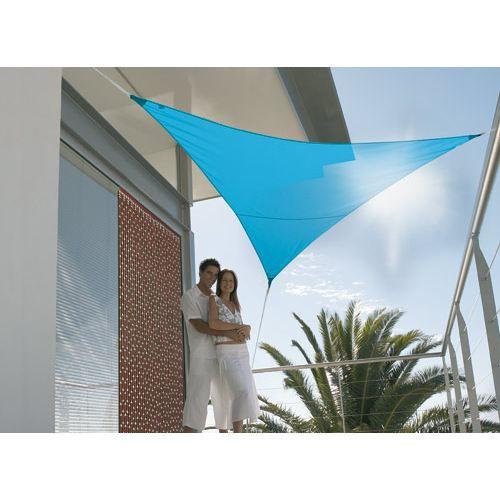Voile d 39 ombrage triangulaire 5 00m bleu azur achat vente parasol om - Voile d ombrage jardiline ...