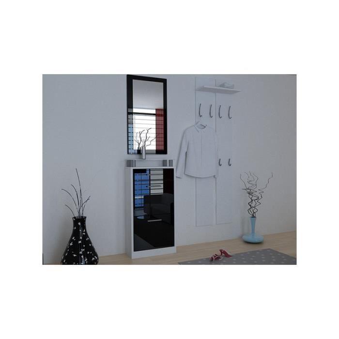 Ensemble de meubles de rangement pour hall entr e noir et - Meuble de rangement hall d entree ...