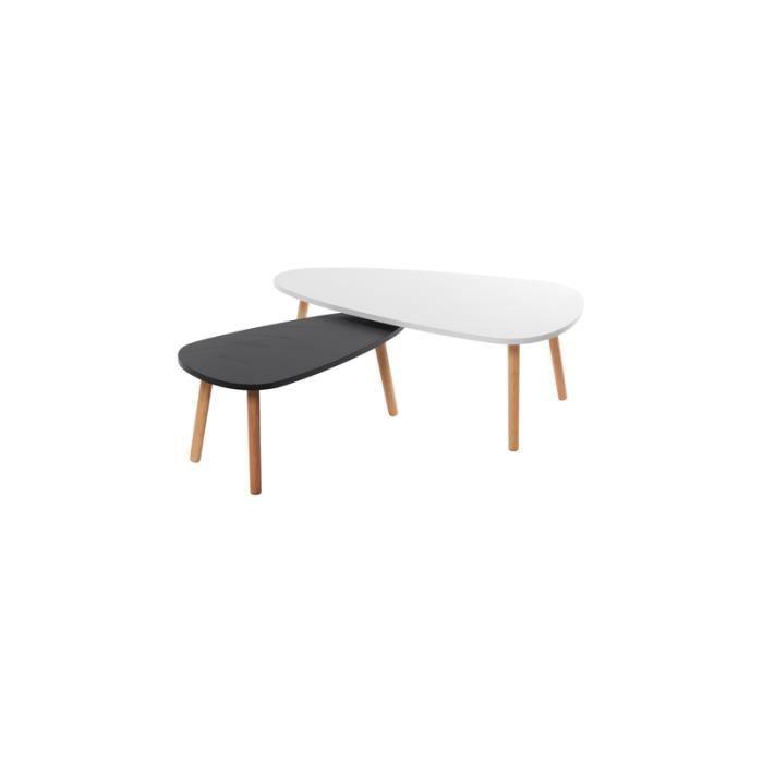 Table basse double blanc et noir achat vente table for Table basse noir et blanche