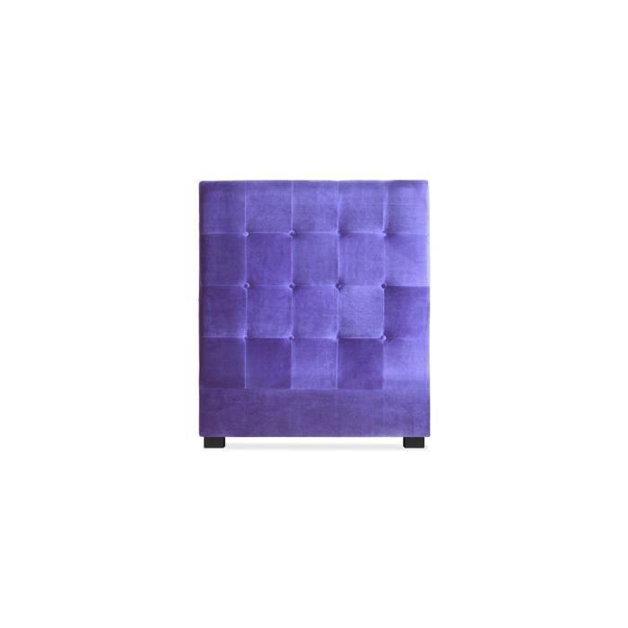 t te de lit capitonn e 90 cm velours violet somy achat vente t te de lit t te de lit. Black Bedroom Furniture Sets. Home Design Ideas