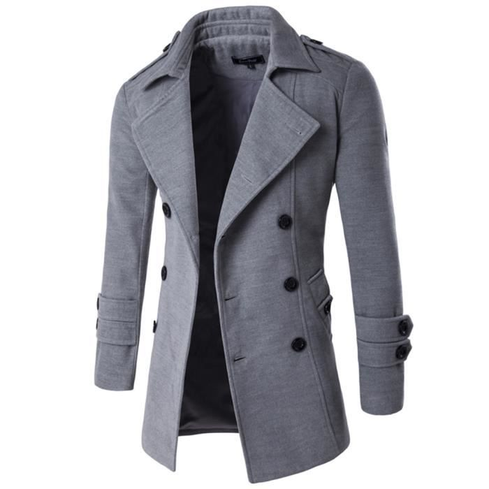 trench coat homme casual type r gulier d 39 hiver gris clair achat vente imperm able. Black Bedroom Furniture Sets. Home Design Ideas
