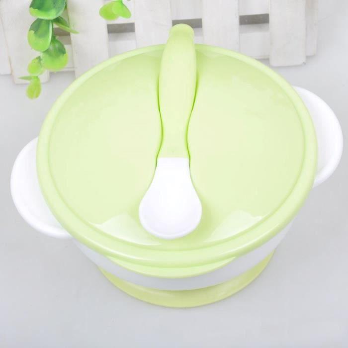 joli bol vert pour b b enfant nouveau n alimentaire vaisselle avec cuill re kit repas outil. Black Bedroom Furniture Sets. Home Design Ideas