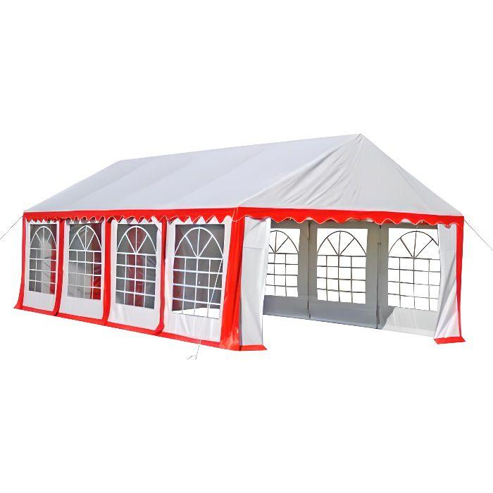 Barnum ch piteau tente de r ception 4x8 m blanc rouge achat vente tonnelle barnum barnum Tente de jardin metro