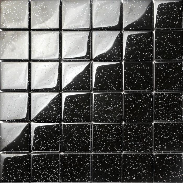 Carrelage mosa que en verre noir avec des paillettes multicolores mesurent - Carrelage mosaique discount ...