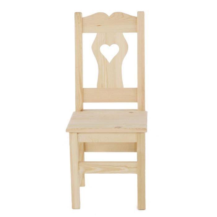 2 x chaise rustique en pin massif brut coeur achat for Chaise en pin massif