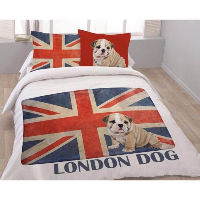 housse de couette london dog avec 2 taies assorties pour lit 2 personnes 100 coton achat. Black Bedroom Furniture Sets. Home Design Ideas