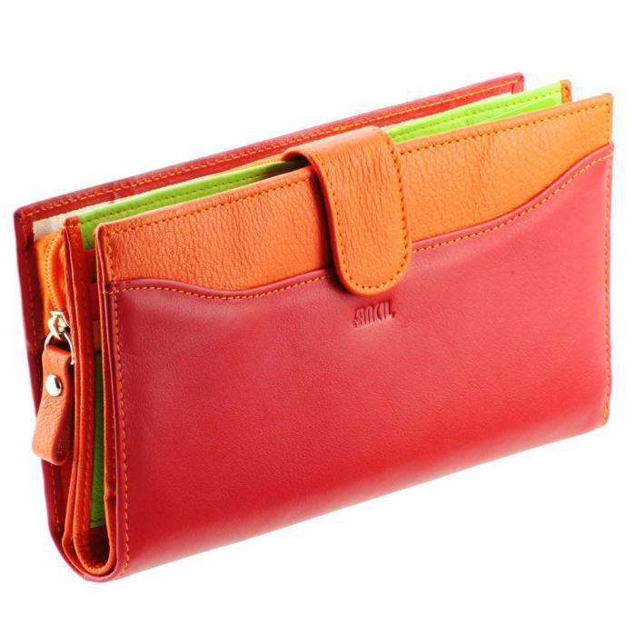 portefeuille femme portefeuille en cuir rouge rouge. Black Bedroom Furniture Sets. Home Design Ideas
