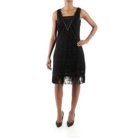 robe ajour e et franges noir noir achat vente robe. Black Bedroom Furniture Sets. Home Design Ideas