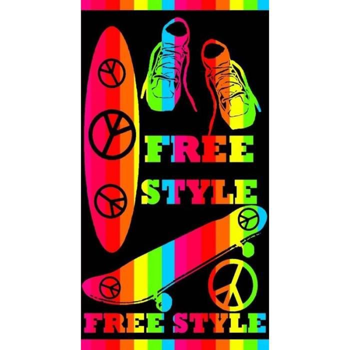 paris prix drap de plage freestyle 86x160cm multicolore achat vente serviette de plage. Black Bedroom Furniture Sets. Home Design Ideas