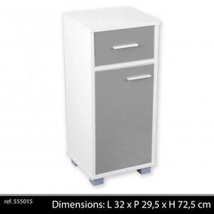 ARMOIRE DE TOILETTE Meuble de salle de bain 1 porte 1 tiroir Blanc/Gri