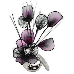 VASE - SOLIFLORE Flourish Vase avec fleurs violettes QH1 Chromé/arg