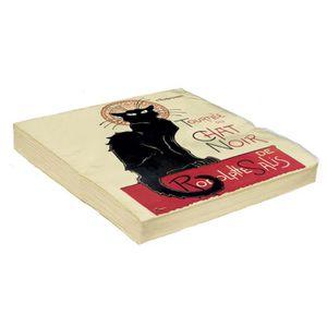 Serviette chat achat vente serviette chat pas cher for Serviette de table noir